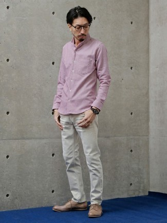 Grey Jeans Outfits For Men: Team a white and purple gingham long sleeve shirt with grey jeans to assemble an interesting and current laid-back ensemble. Inject this ensemble with an element of class by rounding off with a pair of tan leather derby shoes.