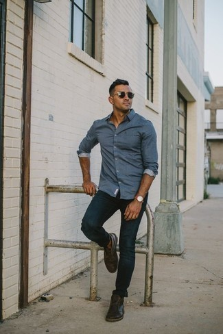 How to Wear a Blue Long Sleeve Shirt For Men: Why not consider teaming a blue long sleeve shirt with navy jeans? As well as super functional, both of these items look good together. Add dark brown leather desert boots to the mix and ta-da: the ensemble is complete.