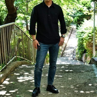 Black Long Sleeve Shirt Outfits For Men: Go for a pared down yet casually cool choice by opting for a black long sleeve shirt and navy jeans. For maximum fashion points, introduce black leather desert boots to the equation.
