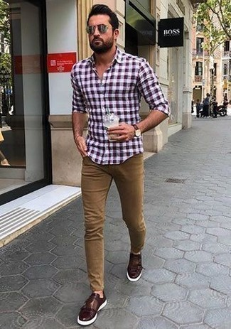 How to Wear a Red and Black Gingham Long Sleeve Shirt For Men: A red and black gingham long sleeve shirt and khaki jeans are a good combo worth incorporating into your day-to-day repertoire. And if you want to easily elevate your outfit with one piece, complete this outfit with a pair of burgundy leather double monks.