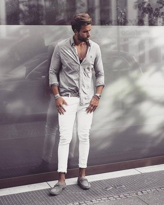 How to Wear Grey Suede Driving Shoes For Men: A grey long sleeve shirt and white jeans are both versatile menswear must-haves that will integrate well within your current casual routine. If you're on the fence about how to round off, introduce a pair of grey suede driving shoes to the equation.
