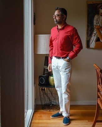 White Jeans Outfits For Men: Go for a straightforward yet casually dapper option by putting together a red long sleeve shirt and white jeans. A pair of navy canvas espadrilles will be the ideal accompaniment for your ensemble.