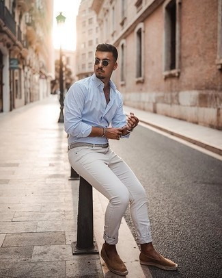 White and Blue Vertical Striped Long Sleeve Shirt Outfits For Men: A white and blue vertical striped long sleeve shirt and white jeans are a great pairing worth having in your day-to-day casual arsenal. Grab a pair of tan suede espadrilles and the whole look will come together.