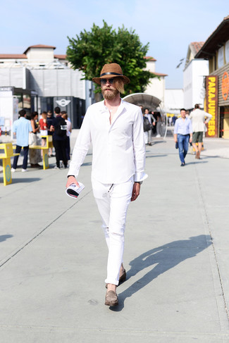 How to wear: white long sleeve shirt, white ripped jeans, grey suede loafers, brown straw hat
