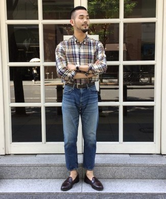 How to Wear a Multi colored Plaid Long Sleeve Shirt For Men: For a cool and casual ensemble, try teaming a multi colored plaid long sleeve shirt with blue jeans — these two items go nicely together. If you need to immediately up the ante of your outfit with one piece, introduce a pair of dark brown leather loafers to the equation.