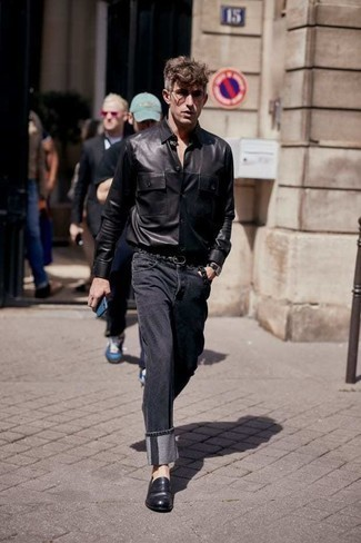 Charcoal Jeans Outfits For Men: A black leather long sleeve shirt and charcoal jeans are a nice combo to carry you throughout the day. Introduce black leather loafers to the mix to completely jazz up the outfit.