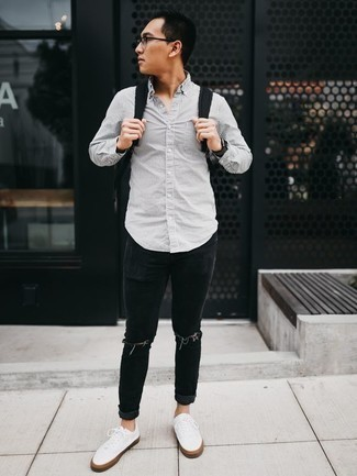 How to Wear a Black Watch For Men: A grey vertical striped long sleeve shirt and a black watch are essential in any gent's functional casual sartorial collection. And if you need to easily perk up this ensemble with shoes, why not introduce a pair of white canvas low top sneakers to the equation?