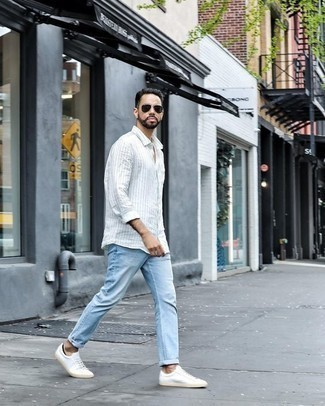 Men's Looks & Outfits: What To Wear Casually: If you're seeking to take your casual fashion game to a new level, wear a white vertical striped long sleeve shirt with light blue jeans. When not sure about the footwear, go with a pair of white canvas low top sneakers.