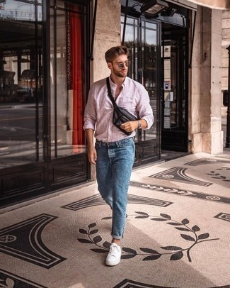 Pink Vertical Striped Long Sleeve Shirt Outfits For Men 24 Ideas Outfits Lookastic