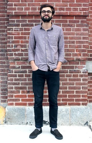 How to Wear Jeans For Men: Showcase your prowess in menswear styling by putting together a light violet chambray long sleeve shirt and jeans for a laid-back combination. Introduce a pair of black canvas slip-on sneakers to this look and ta-da: the ensemble is complete.