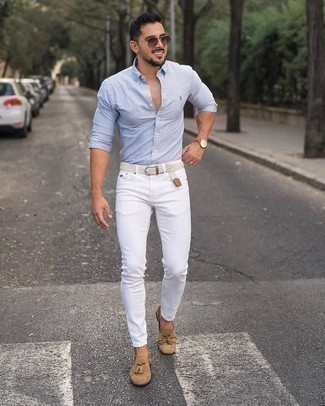 How to Wear White Jeans For Men: If you're facing a fashion situation where comfort is paramount, this pairing of a white and blue vertical striped long sleeve shirt and white jeans is a no-brainer. Feeling creative today? Spice up your outfit by rounding off with tan suede tassel loafers.
