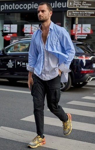How to Wear a Light Blue Vertical Striped Long Sleeve Shirt For Men: Go for a straightforward but casual and cool choice pairing a light blue vertical striped long sleeve shirt and a light blue vertical striped long sleeve shirt. If you want to easily dial down this look with a pair of shoes, complement your look with a pair of multi colored athletic shoes.