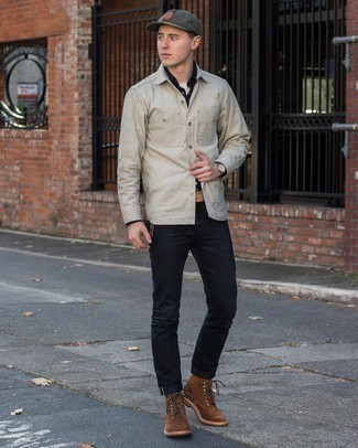 Charcoal Baseball Cap Outfits For Men: Try pairing a navy long sleeve shirt with a charcoal baseball cap to create an interesting and urban ensemble. With shoes, stick to a more elegant route with brown suede casual boots.