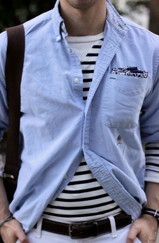 How to wear: light blue chambray long sleeve shirt, white and navy horizontal striped long sleeve t-shirt, white chinos, navy and white print pocket square