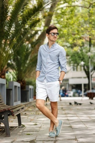 How to Wear Boat Shoes: Consider pairing a light blue long sleeve shirt with white shorts to show you've got expert sartorial prowess. The whole ensemble comes together when you complement this look with boat shoes.