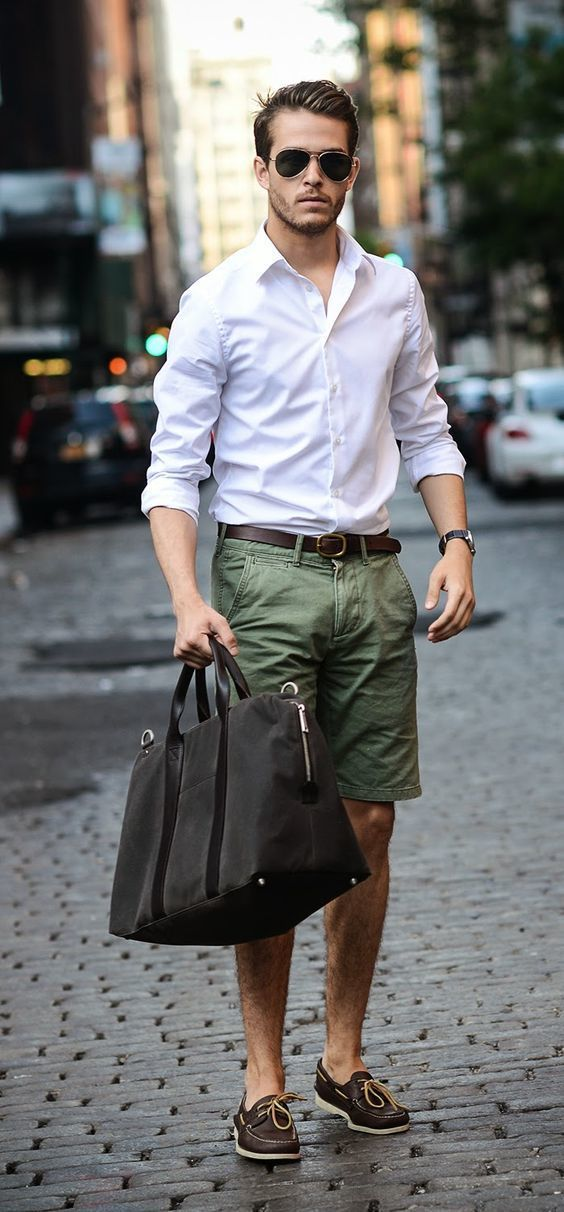 Team A White Long Sleeve Shirt With Dark Green Shorts To Effortlessly Deal Wver This
