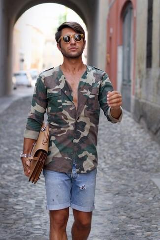 How to wear: dark green camouflage long sleeve shirt, light blue denim shorts, tan leather briefcase, tan sunglasses