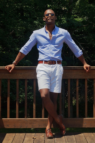 Men's Light Blue Long Sleeve Shirt, White Shorts, Brown Leather Derby Shoes, Brown Leather Belt