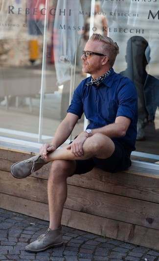 How to wear: navy long sleeve shirt, black shorts, grey suede desert boots, navy floral bandana