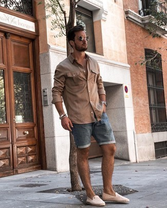 Beige Canvas Espadrilles Outfits For Men: When the setting allows an off-duty look, pair a beige long sleeve shirt with blue denim shorts. Introduce beige canvas espadrilles to the mix et voila, the ensemble is complete.