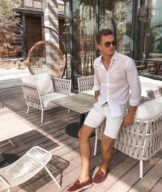White Shorts Casual Outfits For Men: This casual combo of a white print long sleeve shirt and white shorts is a tested option when you need to look casually stylish in a flash. A pair of brown suede espadrilles looks amazing here.