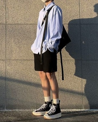 500+ Summer Outfits For Men: Marry a light blue long sleeve shirt with black shorts to assemble an interesting and modern-looking casual ensemble. Throw in black and white canvas high top sneakers to make a classic outfit feel suddenly edgier. This ensemble is also great if you're looking for summertime wear to make a tedious day more tolerable.