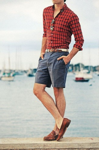 How to wear: red and black check long sleeve shirt, charcoal shorts, brown leather loafers, beige woven leather belt