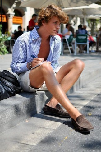 How to wear: white and blue vertical striped long sleeve shirt, beige shorts, dark brown suede loafers, black leather tote bag