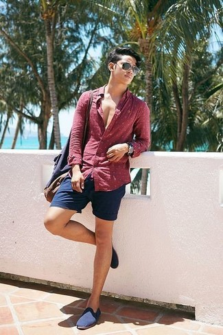 How to wear: red polka dot long sleeve shirt, navy shorts, navy canvas loafers, navy canvas tote bag