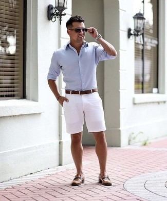 How to Wear Violet Sunglasses For Men: Prove that you do off-duty like a style pro in a light blue long sleeve shirt and violet sunglasses. Introduce brown leather loafers to the equation to instantly up the wow factor of any look.