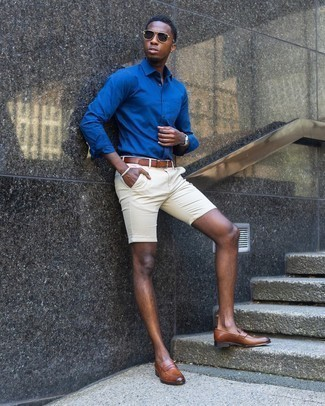 Blue Long Sleeve Shirt Outfits For Men: A blue long sleeve shirt and beige shorts will give off this relaxed and dapper vibe. Add brown leather loafers to your outfit to completely jazz up the outfit.