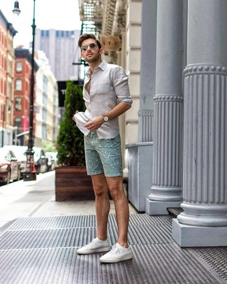 How to wear: white linen long sleeve shirt, mint print shorts, white canvas low top sneakers, black sunglasses