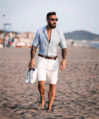 How to wear: light blue linen long sleeve shirt, white shorts, white leather low top sneakers, brown woven canvas belt