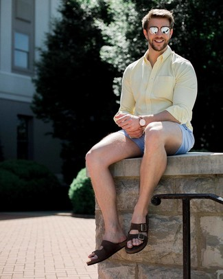 How to wear: yellow long sleeve shirt, light blue shorts, dark brown suede sandals, silver sunglasses