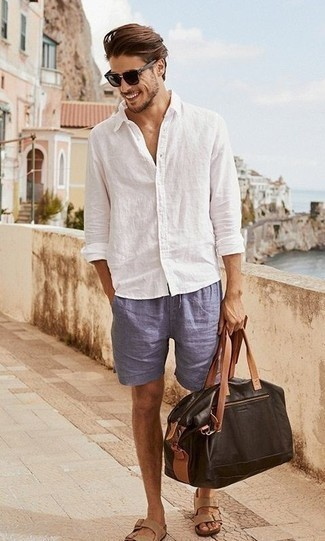 How to Wear a Brown Leather Holdall In Your 30s In Hot Weather For Men: This pairing of a white linen long sleeve shirt and a brown leather holdall speaks comfort and fashion. Inject a dash of stylish nonchalance into your ensemble by sporting tan leather sandals.
