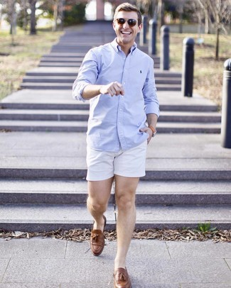 How to wear: light blue long sleeve shirt, white shorts, brown leather tassel loafers, brown sunglasses