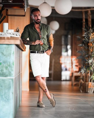 How to wear: dark green long sleeve shirt, white shorts, beige suede tassel loafers, black leather belt