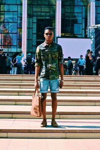 Light Blue Ripped Denim Shorts Outfits For Men: A dark green camouflage long sleeve shirt and light blue ripped denim shorts are the kind of casual must-haves that you can wear for years to come. If you need to instantly ramp up your outfit with one piece, add a pair of tan suede tassel loafers to the mix.