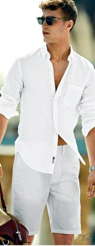 Pair a white long sleeve shirt with grey shorts to create a great weekend-ready look. You can bet this combination is great come summertime.