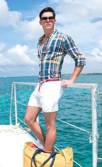 Side Adjuster Flat Front Shorts White