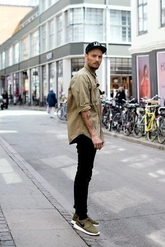 Black and White Print Baseball Cap Outfits For Men: You're looking at the undeniable proof that a tan long sleeve shirt and a black and white print baseball cap look amazing when worn together in a city casual look. Introduce a pair of olive athletic shoes to the mix and off you go looking spectacular.