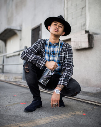 Black Ripped Skinny Jeans Outfits For Men: To achieve a laid-back look with a modern take, marry a charcoal plaid long sleeve shirt with black ripped skinny jeans. And it's amazing what a pair of navy suede chelsea boots can do for the look.