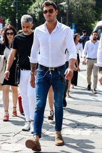 How to Wear Dark Brown Sunglasses For Men: If you're looking for a bold casual yet dapper outfit, reach for a white long sleeve shirt and dark brown sunglasses. Feeling venturesome today? Jazz things up by rounding off with a pair of tan suede derby shoes.