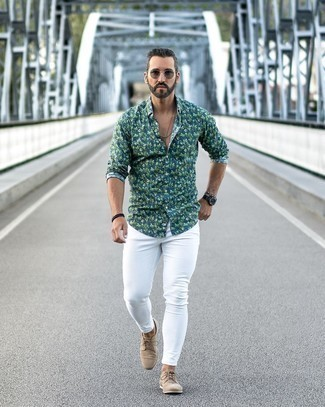 Black Watch Warm Weather Outfits For Men: If you're on a mission for a laid-back yet dapper getup, consider wearing a teal floral long sleeve shirt and a black watch. Complete your ensemble with beige suede derby shoes to completely jazz up the outfit.