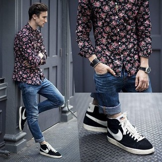 How to wear: black floral long sleeve shirt, blue ripped skinny jeans, navy suede high top sneakers, black leather watch