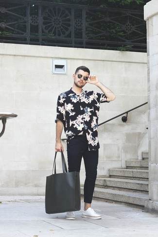 How to Wear a Black Floral Long Sleeve Shirt For Men: For a casual look, go for a black floral long sleeve shirt and black skinny jeans — these two pieces go really well together. And if you wish to immediately amp up your outfit with footwear, why not throw white leather low top sneakers in the mix?