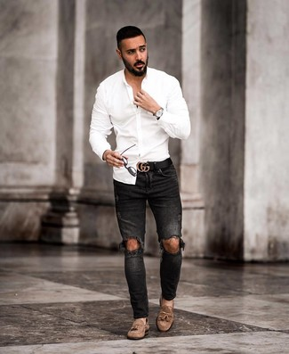 How to wear: white long sleeve shirt, black ripped skinny jeans, brown suede tassel loafers, black leather belt
