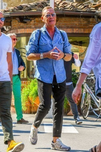 Aquamarine Long Sleeve Shirt with Charcoal Chinos Outfits: This combination of an aquamarine long sleeve shirt and charcoal chinos is great for off-duty days. Take this outfit down a more informal path with grey athletic shoes.