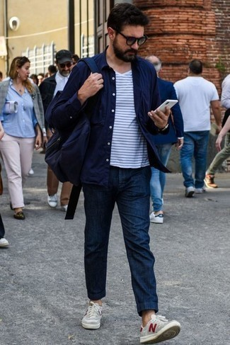 How to Wear Sunglasses For Men: Marrying a navy long sleeve shirt with sunglasses is a smart choice for a laid-back but on-trend outfit. If you wish to easily up the ante of your look with footwear, complement your ensemble with grey canvas low top sneakers.