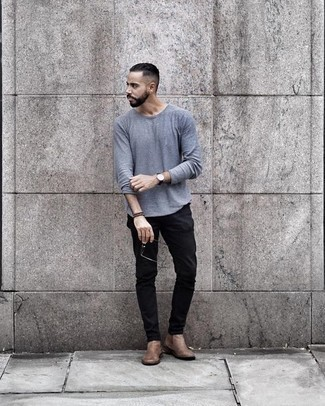 How to Wear a Leather Watch For Men: For a casually stylish outfit, opt for a light blue long sleeve t-shirt and a leather watch — these items go perfectly well together. Tan leather chelsea boots will immediately polish up any ensemble.